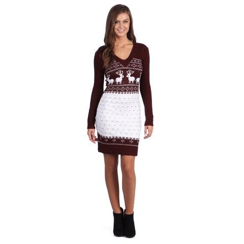 White Mark Women's 'Boston' Maroon/ White Sweater Dress