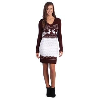 White Mark Women's 'Boston' Maroon/ White Sweater Dress|https://ak1.ostkcdn.com/images/products/7318027/P14786911.jpg?_ostk_perf_=percv&impolicy=medium
