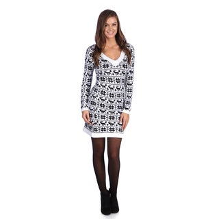 White Mark Women's 'Denver' White/ Black Sweater Dress