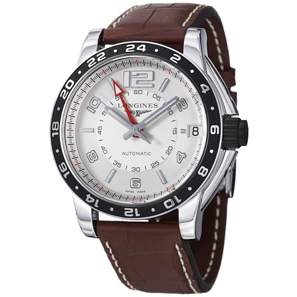 Longines Men's 'Admiral' Silver GMT Dial Brown Strap Automatic Watch
