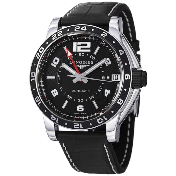Longines Men's 'Admiral' Black GMT Dial Black Leather Strap Watch
