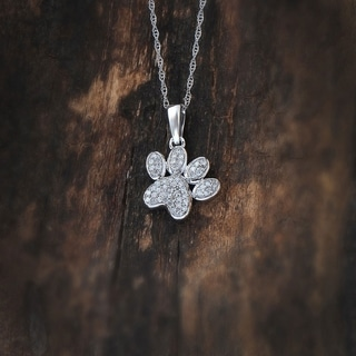 Link to De Couer  IGI Certified 10k White Gold Round Diamond Dog Paw Print Necklace Similar Items in Necklaces