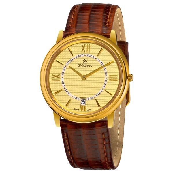 Grovana Men's Goldtone Dial Brown Leather Strap Date Quartz Watch