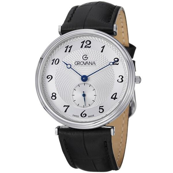 Grovana Men's Water-Resistant Silver Dial Black Leather Strap Quartz Watch