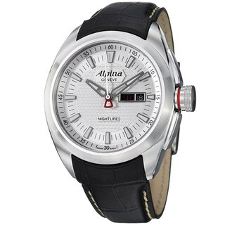 Alpina Men's 'Club' Silver Dial Black Leather Strap Day Date Watch