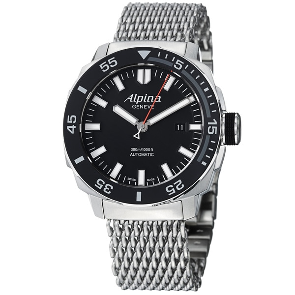 Alpina Men's 'Adventure' Black Dial Stainless Steel Mesh Watch