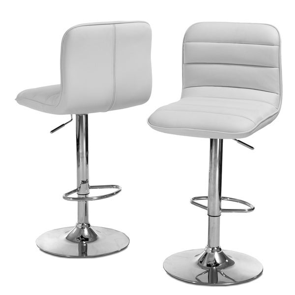 Agoura White Polyurethane Bar Stool (Set of 2) by Christopher Knight Home