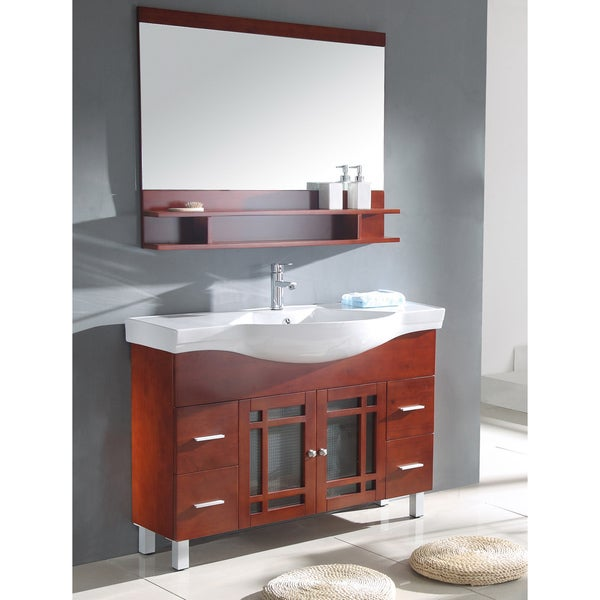 Shop Ceramic Sink Top Single Sink Bathroom Vanity With Matching Mirror Free Shipping Today