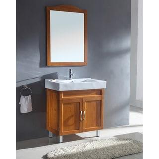 Ceramic Sink Top Single Sink Bathroom Vanity with Matching Mirror