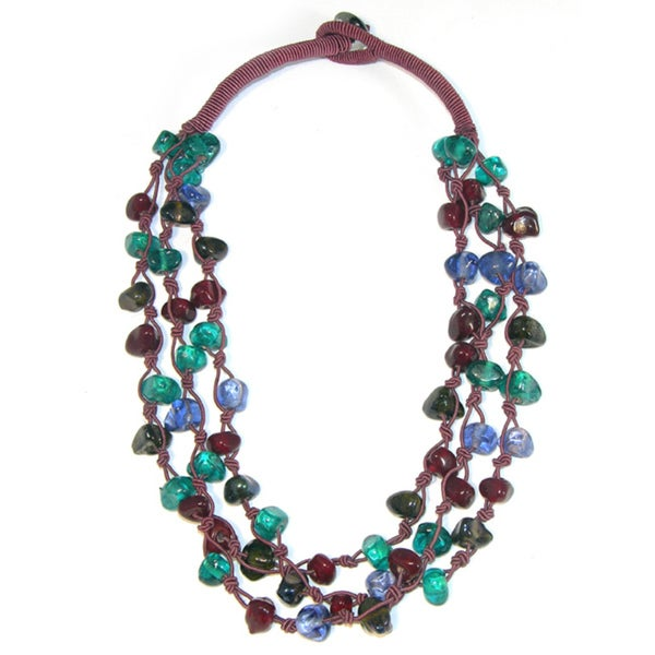 Handmade Berry Baubles Glass Necklace (India)