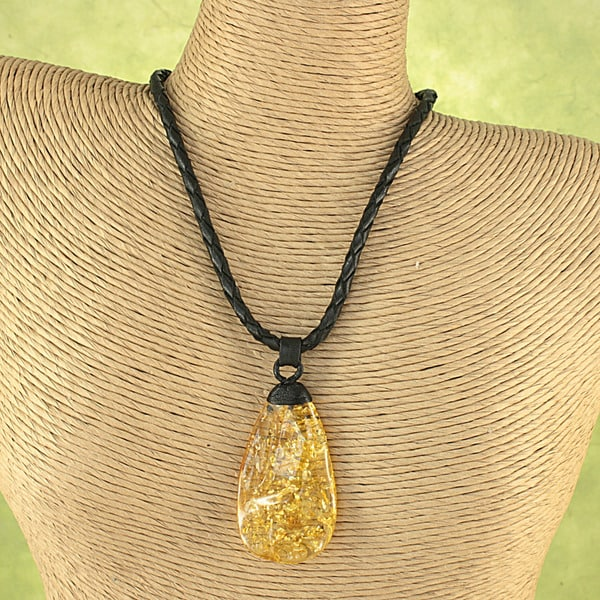 Hand-tied Lemon Baltic Amber Wave Leather Cord Necklace ( Lithuania)