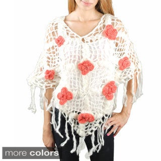 Handmade Rose Knit Woolen Poncho (Nepal)