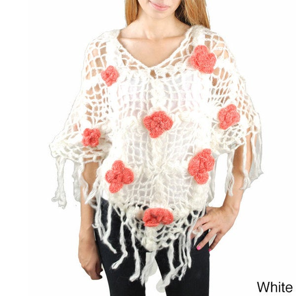 62446dbcb245a Shop Handmade Rose Knit Woolen Poncho (Nepal) - Free Shipping On Orders  Over  45 - Overstock - 7318193