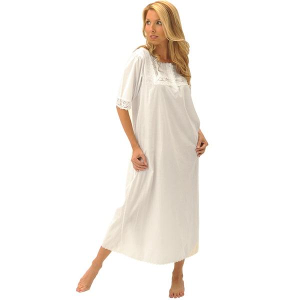 Alexander Del Rossa Women's 'Nadia' White Cotton Nightgown