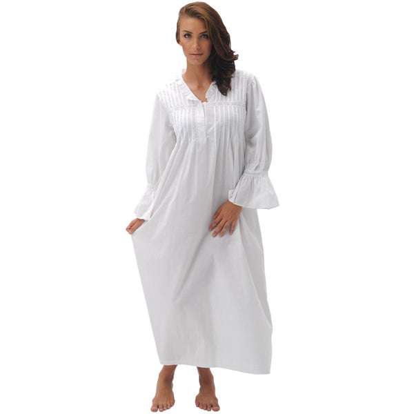 Alexander Del Rossa Women's 'Romeo & Juliet' White Cotton Nightgown