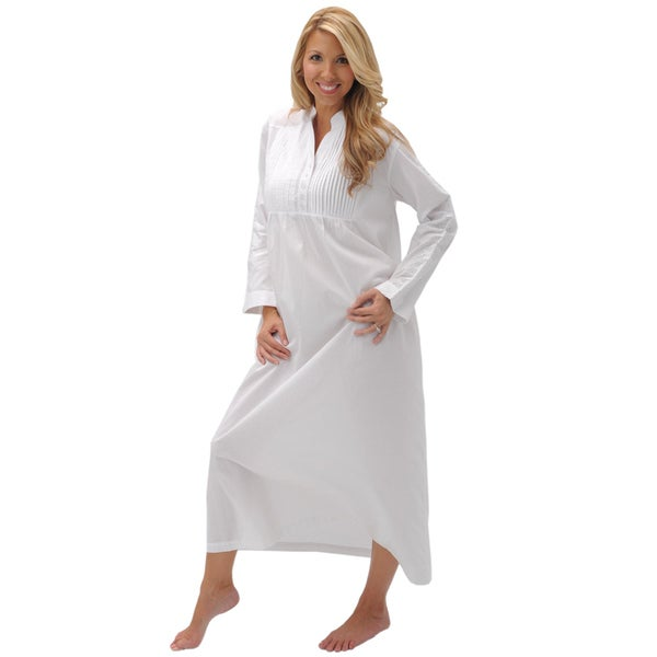 Alexander Del Rossa Women's 'Guinevere' White Cotton Nightgown