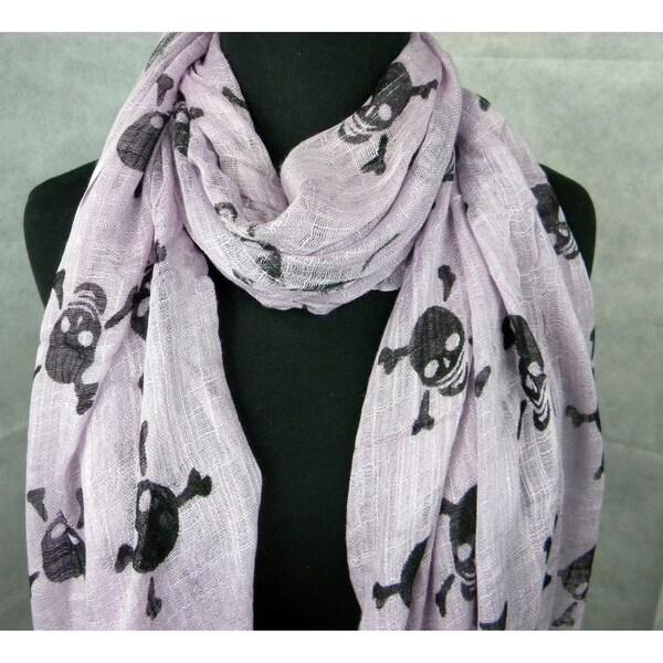 Lavender Skull And Cross Bones Fashion Scarf