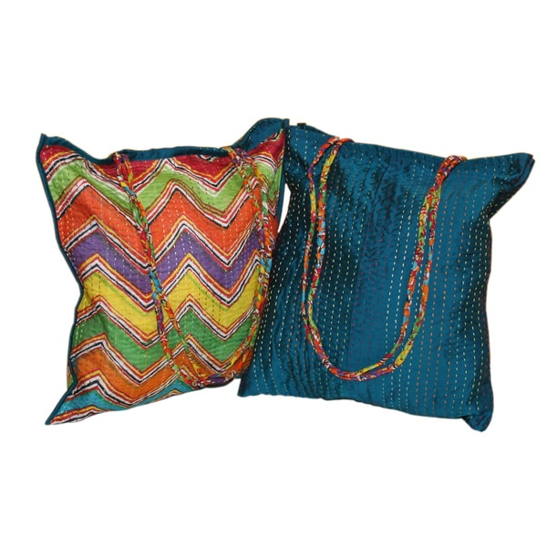 Hand Embroidered Reversible Peacock/ Zig Zag Cotton-silk Tote Bag (India)