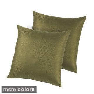 Hotel Madison Silk Jacquard Down-like Decorative Pillows (Set of 2)