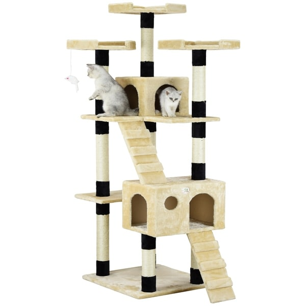 Go Pet Club Beige/Black Faux Fur and Wood 72-inch-high Cat Tree