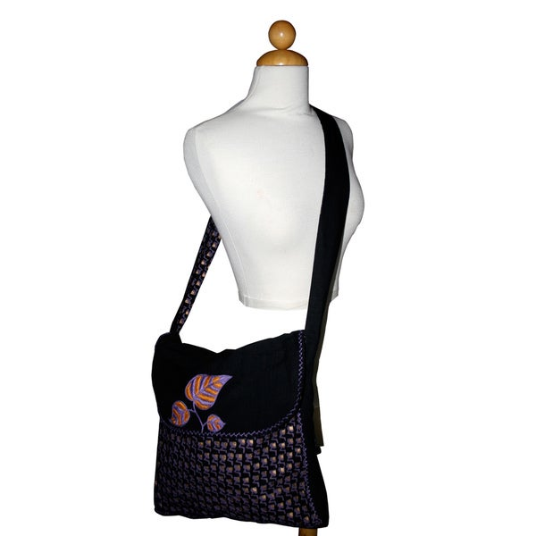 Hand-embroidered Block Printed Mango Leaves Shoulder Bag (India)
