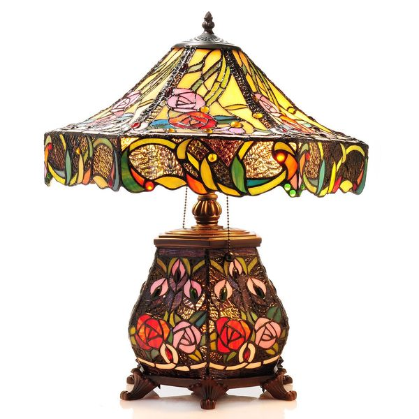 Tiffany Style Rose Table Lamp