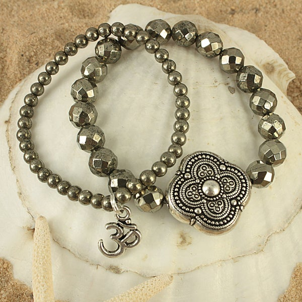 Handcrafted Pyrite Antique Round Petal OM Charm Stretch Bracelet (USA)