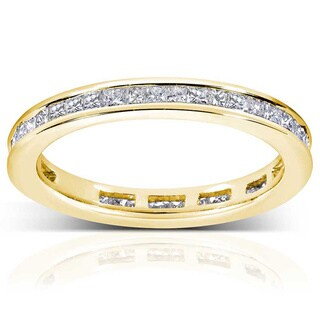 Annello by Kobelli 14k Gold 1ct TDW Princess Diamond Eternity Ring