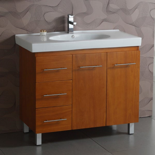 Shop Ceramic Top 40 Inch Single Sink Bathroom Vanity White Free Shipping Today Overstock