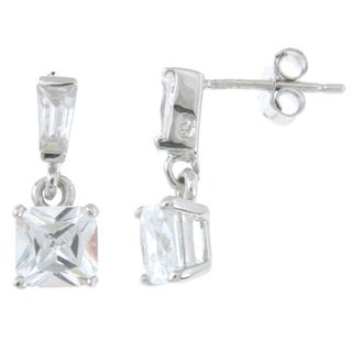 Sterling Silver Platinum Finish Princess CZ Fashion Earrings