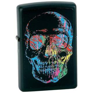 Zippo Matte Black Finish with Skull Lighter