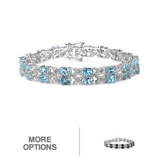Malaika Sterling Silver Genuine Gemstone Bracelet