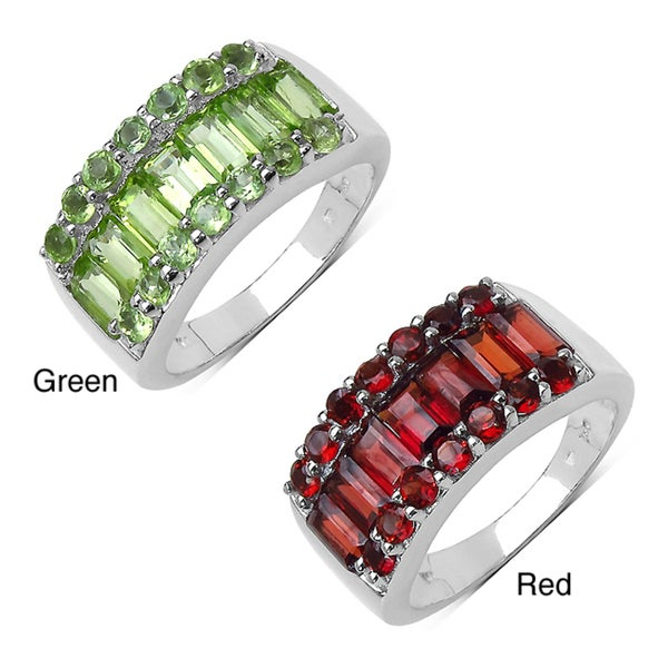 Malaika Sterling Silver Baguette and Round Peridot or Garnet Ring