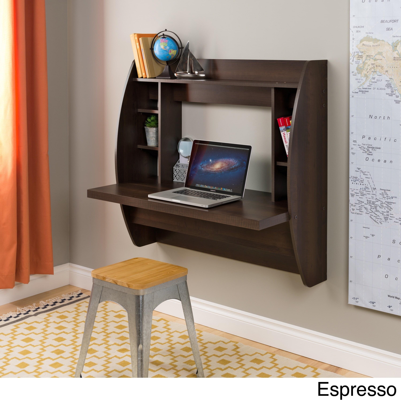 Prepac Floating Desk with Storage (Espresso - Espresso Fi...