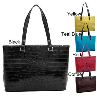 Dasein Croco Embossed Chic Tote Bag