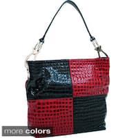 Dasein Colorblock Croco Embossed Hobo Bag