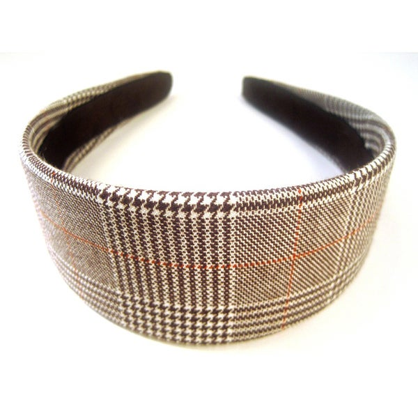 Crawford Corner Shop Brown White Suiting Plaid Headband