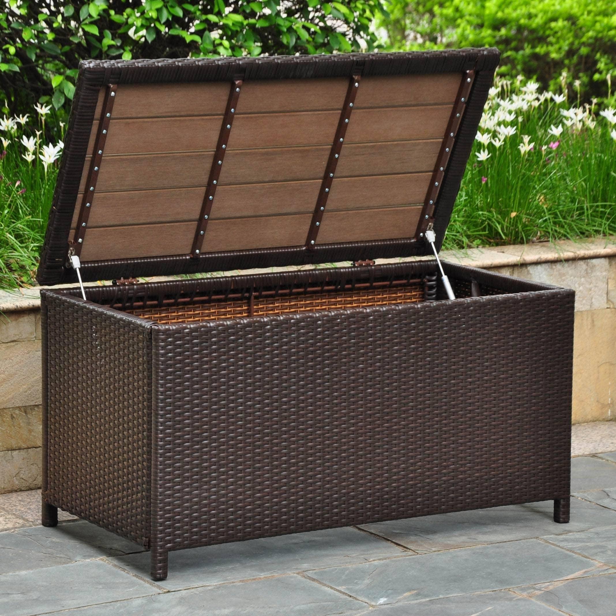 Terrific International Caravan Barcelona Resin Wicker Aluminum Outdoor Storage Trunk Dailytribune Chair Design For Home Dailytribuneorg