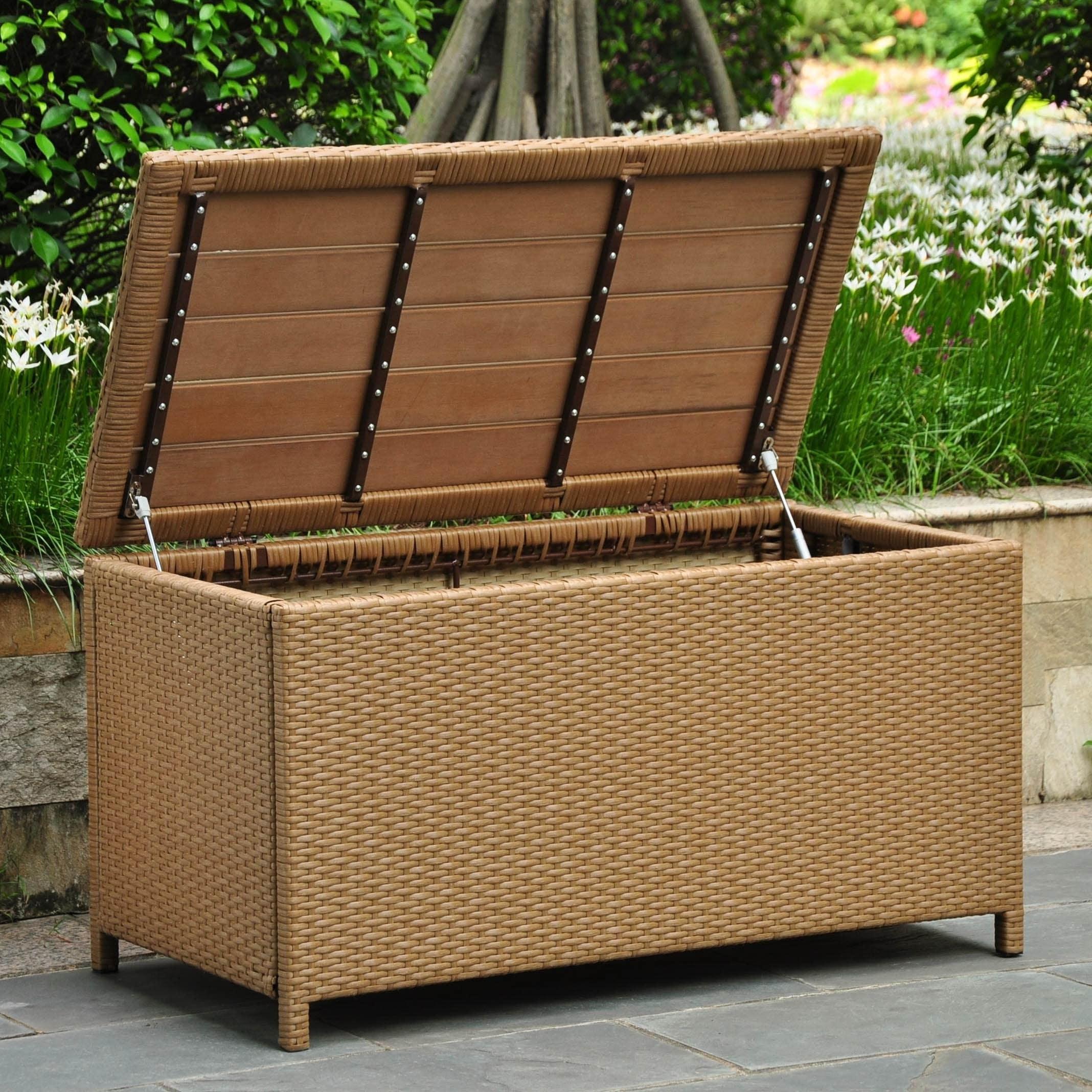 Wondrous International Caravan Barcelona Resin Wicker Aluminum Outdoor Storage Trunk Dailytribune Chair Design For Home Dailytribuneorg