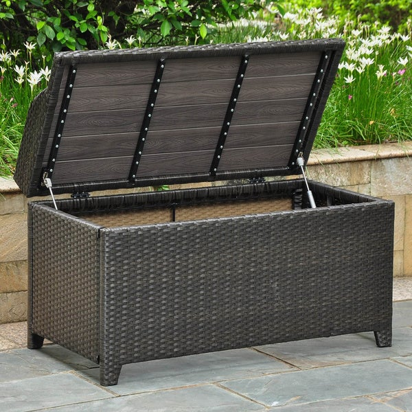 Outdoor Resin Storage Bench Part - 35: International Caravan Barcelona Resin Wicker/Aluminum Outdoor Storage Bench  - Free Shipping Today - Overstock.com - 14790392