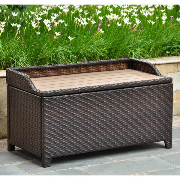 International Caravan Barcelona Resin Wicker Aluminum Outdoor Storage Bench