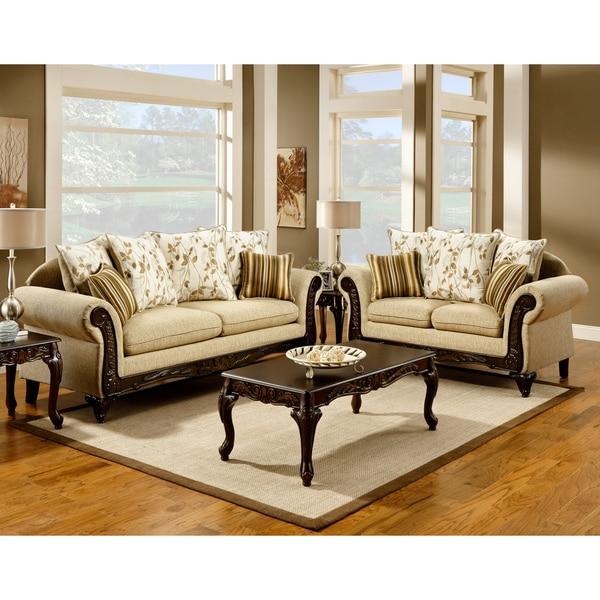 Furniture of america artizani 2 piece sofa and loveseat for 2 piece furniture set