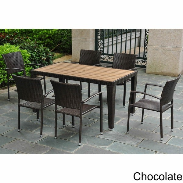 International Caravan Resin Wicker/Aluminum 7-piece Patio Dining Set