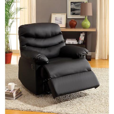Furniture of America Mitchel Black Bonded Leather Recliner