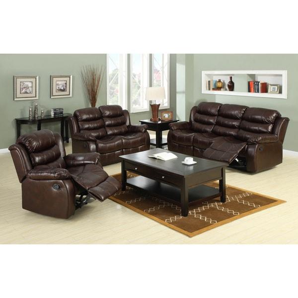 Furniture of America Berkenfield 3-piece Leatherette Sofa Set