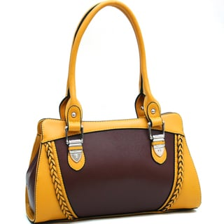 Dasein Classic Two-Toned Braided Accent Shoulder Bag