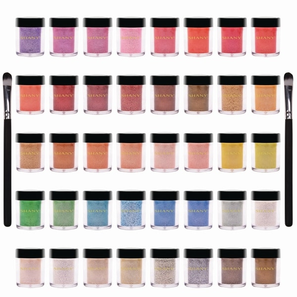 SHANY Loose Pearl Eye Shadow Glitter in Favorite Colors with Two Shadow Brushes. Opens flyout.