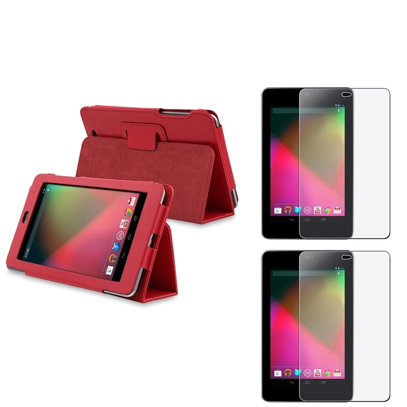 BasAcc Red Case/ Anti-glare Screen Protector for Google Nexus 7