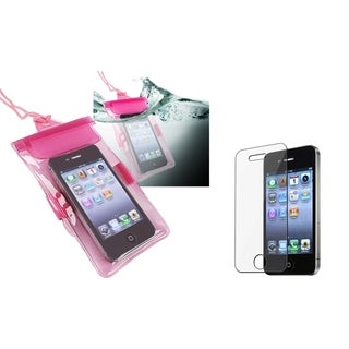 INSTEN Hot Pink Waterproof Bag/ LCD Protector for Apple iPhone 4/ 4S