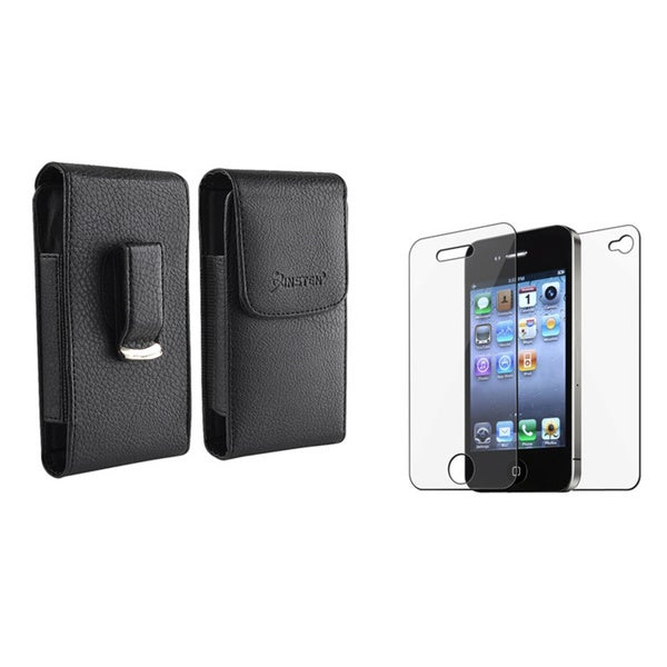INSTEN Black Leather Case/ LCD Protector for Apple iPhone 4/ 4S